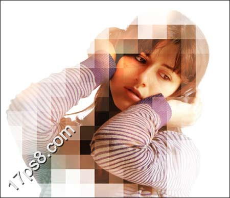 photoshop为美女照片添加马赛克战士靴子[中国美女边框效果图片