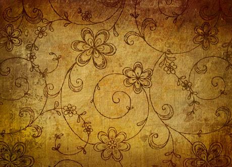 陈旧复古黄色污迹花纹背景设计素材高清图片下载