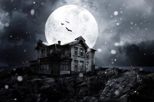 海边恐怖木屋蝙蝠白色月亮黑暗意境背景素材高清