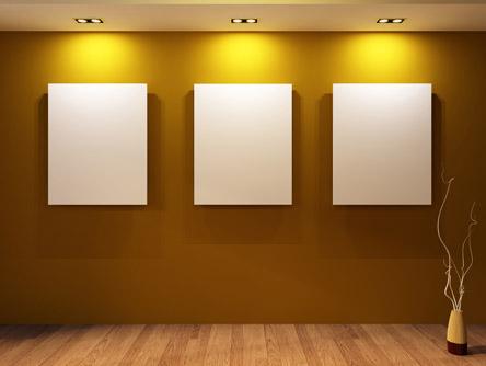 暖色背景墙画廊展示厅室内设计高清图片素材下载