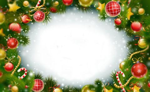 松枝红色铃铛圣诞节边框背景素材高清图片下载