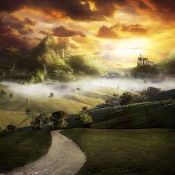 郊外小路城堡奇幻风景素材高清图片下载