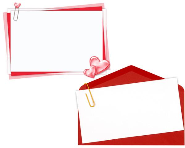 回形针心形红色信封贺卡高清图片素材下载 2张