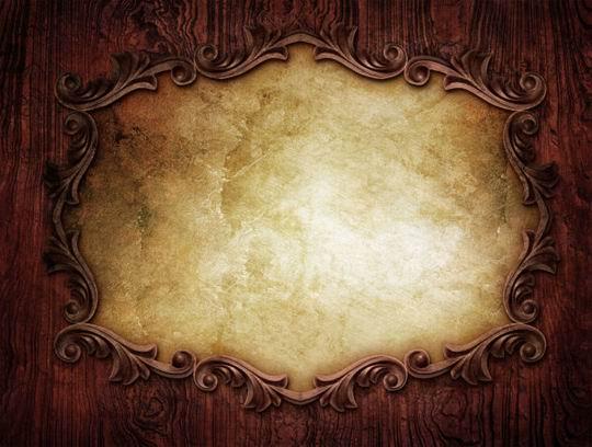 高清欧式红木纹雕花污渍背景边框素材图片载