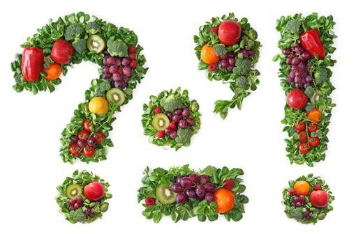 高清提子苹果辣椒青菜等蔬菜水果组成的问号感叹号等标点符号白底素材