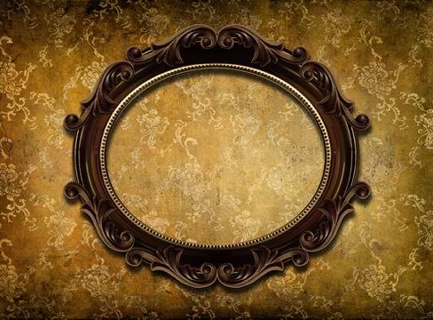 欧式古典华丽雕花相框污渍花纹墙纸背景素材图片下载