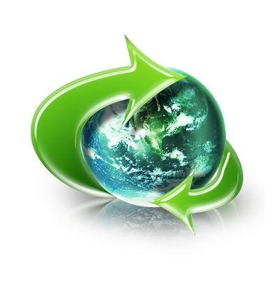 白背景绿色水晶箭头环绕地球高清图片素材下载