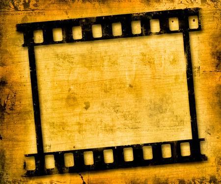 高清電影膠片邊框黃色污漬紋理背景素材圖片下載