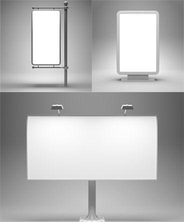 3张高清灰背景空白灯箱户外广告牌设计素材图片打包下载