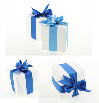 3张蓝色丝带蝴蝶结礼物素材高清图片下载