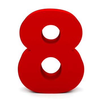白底红色立体8字三八妇女节素材高清图片下载