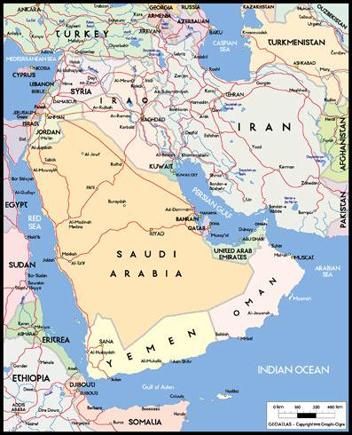 世界地图之阿拉伯半岛