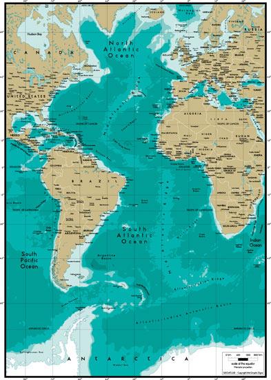 世界地图之大西洋(atlantic ocean)地图高清晰图片素材下载