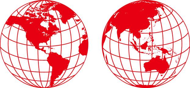 红色地球世界地图剪纸素材高清图片下载