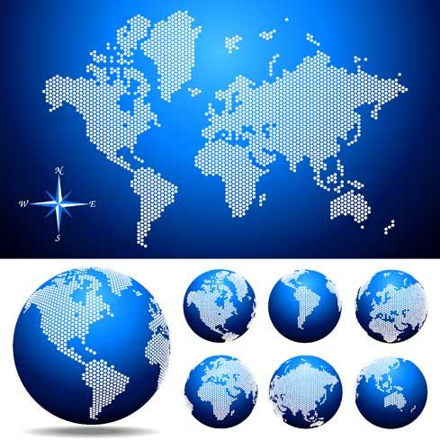 蓝色点阵状世界地图素材高清图片下载