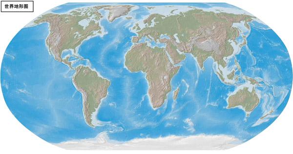 世界地图之桶形世界地形图高清素材图片下载