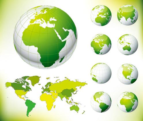绿色地球与世界地图素材高清图片下载