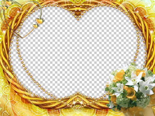 国外金色心形婚纱照片相框psd素材下载