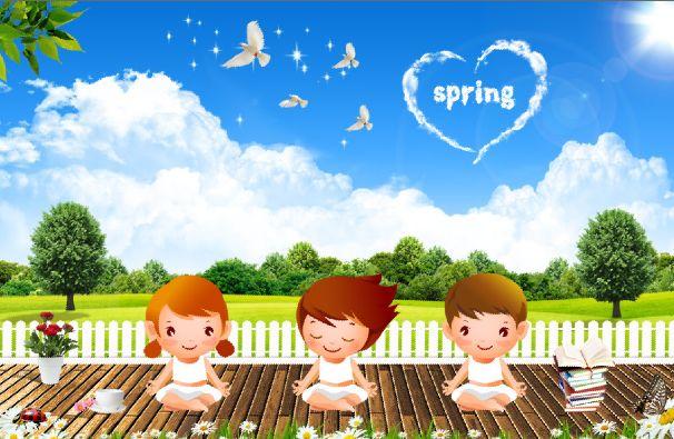 春天海报模板psd素材卡通儿童人物公益海报模板素材