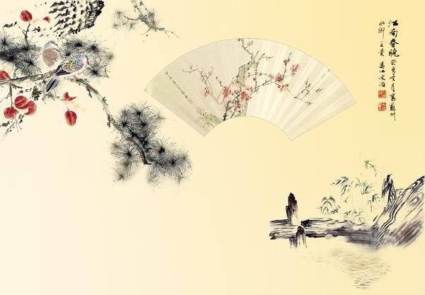 水墨风格国画背景psd素材古典折扇图片水墨花草国画背景模板