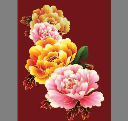 牡丹花图片模板psd素材手绘漂亮的牡丹花图片模板素材