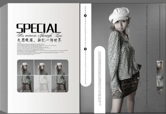 杂志风格写真模板psd素材时尚杂志封面个性黑白人像写真模板图片