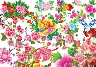 免抠手绘牡丹花图片模板psd素材抠好的矢量风格牡丹花