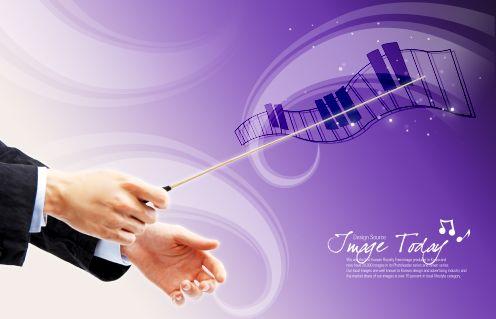 音乐海报背景模板psd素材乐队指挥钢琴音符等音乐主题