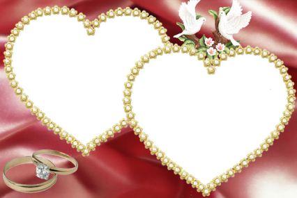 情侣照片边框模板psd素材两个珍珠心形边框情侣照片边框模板下载