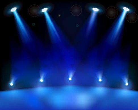 舞台灯光效果图模板psd素材上下十盏直射的蓝色舞台灯光效果模板