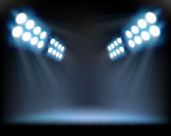 素材 舞台灯光/舞台灯光模板psd素材4个向下直射的蓝色舞台灯光分层模板