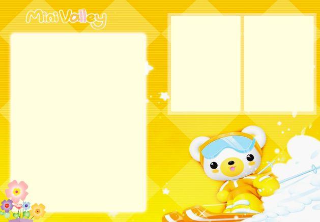 psd素材 影楼模板 儿童模板 滑雪的卡通小熊橘色系儿童照片边框模板下