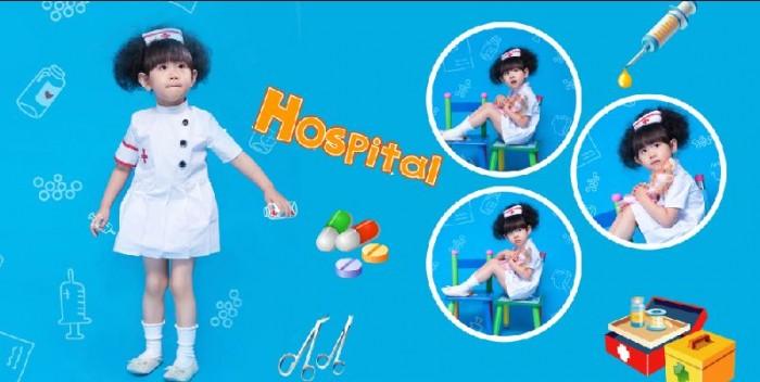 可爱小护士系列蓝色调儿童相册宽幅模板素材psd分层格式之四(全套8p)