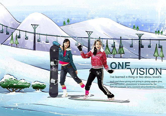 韩国手绘家居情景插画风格背景人物写真相册模板psd素材十一全套共20p