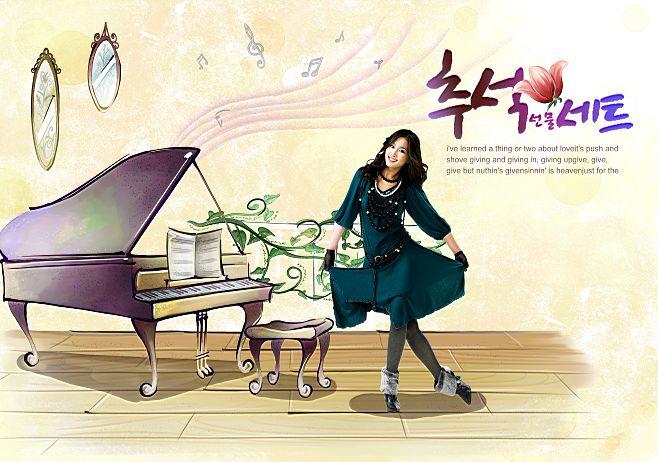 韩国手绘家居情景插画风格背景人物写真相册模板psd素材十三全套共20p