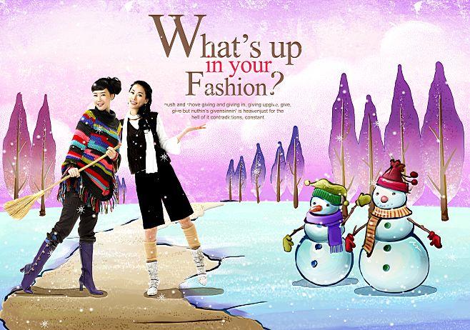 韩国手绘家居情景插画风格背景人物写真相册模板psd素材十八全套共20p