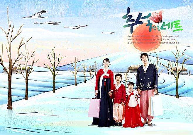 韩国手绘家居情景插画风格背景人物写真相册模板psd素材十九全套共20p