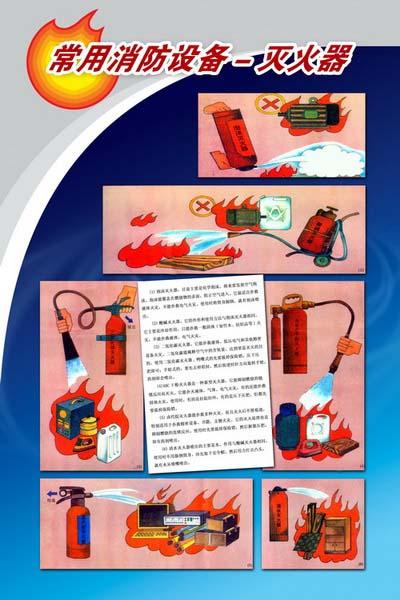 消防科普展板常用消防设备-灭火器介绍系列展板模板psd素材免费下载