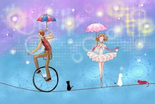 钢丝绳上骑独轮车玩杂技的演员韩国矢量手绘风格卡通人物分层背景psd