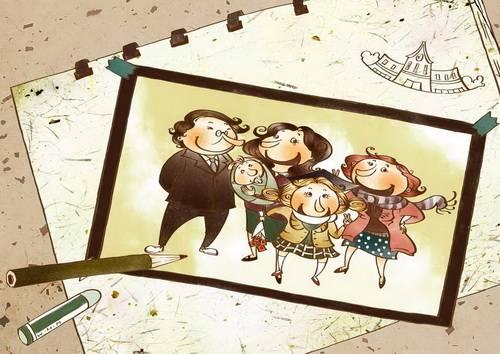 漫画中的幸福一家人全家福照片韩国矢量手绘风格卡通人物分层背景psd