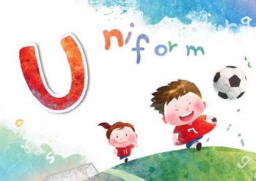 穿着制服踢球的小朋友u-uniform韩国卡通风格通风格识字卡片模板psd素