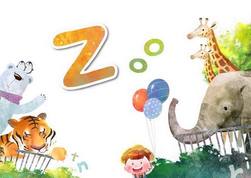到动物园游玩的小朋友z-zoo韩国卡通风格通风格识字卡片模板psd素材