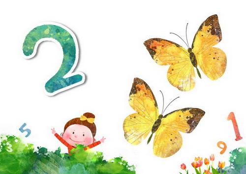 抓两只小蝴蝶的小女孩阿拉伯数字2韩国卡通风格通