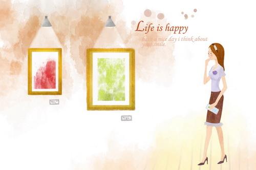 博物馆看漫画的女孩韩国风格卡通美女情侣v漫画壁纸柯南画展图片