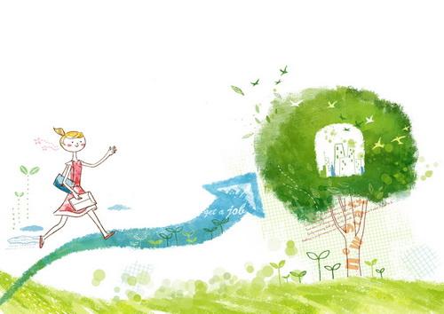 提着包踩着女孩上树的屁股韩国箭头卡通美女情大风格女生是为什么图片