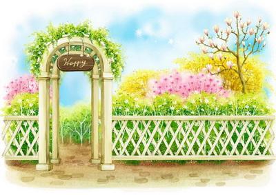 别致的园子里的木门白色的木栅栏园林背景韩国矢量风格儿童背景psd