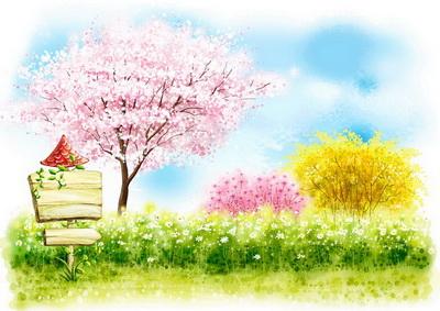 草地上春天花丛中盛开桃花的桃树韩国矢量风格儿童背景psd素材免费