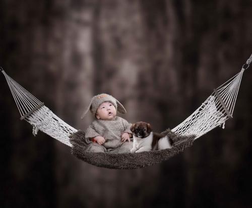2015年3d免抠图儿童模板{e210.憨豆}系列满月宝宝相册