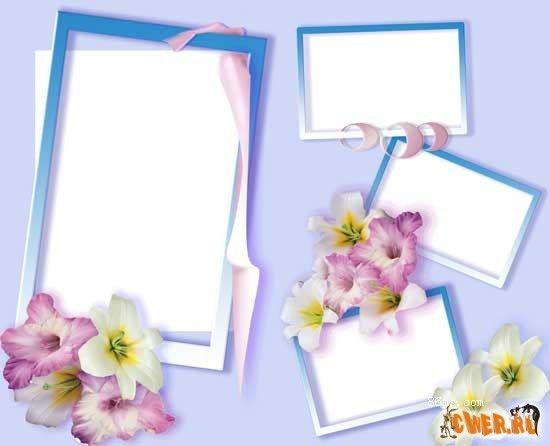 鲜花丝带全家福照片相框模板psd分层素材下载