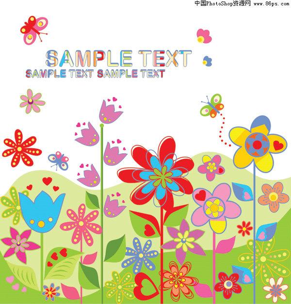 eps格式可爱缤纷小花朵矢量素材免费下载 [中国资源网